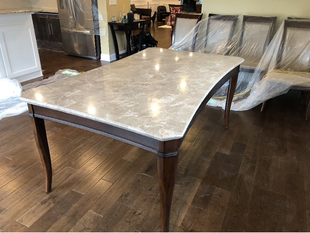 Dining room table polishing in Jefferson Park, Chicago on 7-20-18