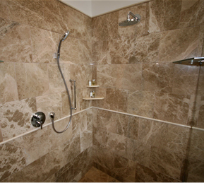 Shower polishing cleaning caulking glass restoration for Cleaning products for marble showers