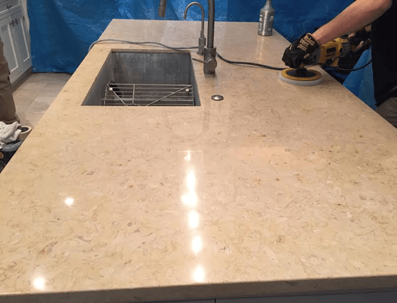Travertine countertop restoration , Chicago IL 60060, 11-15-2015