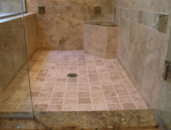 Travertine Shower Steam Cleaning, Lake Forest IL 60642, 9-17-2014